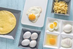 Varietà di piatti dell'uovo Immagine Stock Libera da Diritti