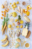Varietà di prodotti freschi tonificati gialli Fotografia Stock Libera da Diritti