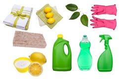 Varietà di rifornimenti di pulizia verdi fotografia stock