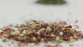 Varietà di spezie e di erbe aromatiche sul tavolo da cucina archivi video