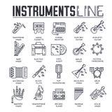 Varietà di strumenti di musica e di attrezzature differenti di gioco Insieme dell'icona Illustrazione moderna del fondo di vettor illustrazione vettoriale