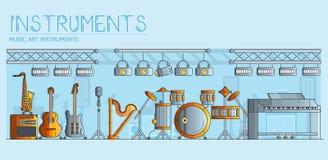 Varietà di strumenti di musica e di attrezzature differenti di gioco Progettazione moderna dell'illustrazione del fondo di vettor royalty illustrazione gratis