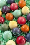 Varietà di uova di Pasqua in cartone dell'uovo, vista elevata Fotografia Stock Libera da Diritti