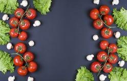 Varietà di verdure crude, concetto culinario Assortimento delle verdure e delle erbe su fondo di pietra grigio Verdure crude diff Fotografia Stock