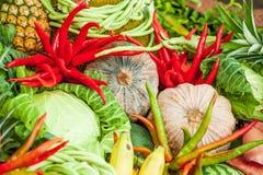 Varietà di verdure e di frutta Variopinto e fresco, peppe del peperoncino rosso immagini stock libere da diritti