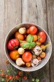 Varietà differenti di pomodori con aglio, basilico Immagini Stock
