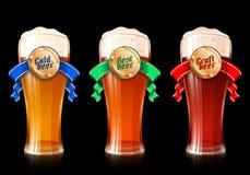 Varietà Lager Ribbon Craft Best Cold leggero scuro di vetro di birra Immagini Stock Libere da Diritti