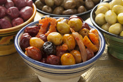 Varietà marocchina di olive marinate Fotografia Stock