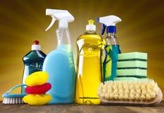 Varietà di prodotti di pulizia Fotografia Stock Libera da Diritti