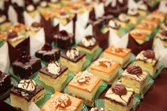 Varieties of cakes desserts catering sweets Stock Photo