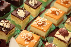 Varieties of cakes desserts catering sweets Stock Photos