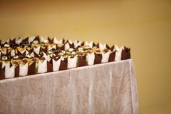 Varieties of cakes desserts catering sweets Stock Images