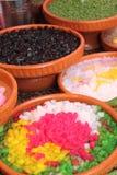 Varieties of colorful Thai dessert Royalty Free Stock Image