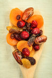 Varieties of dried fruits on wooden spoon. Royalty Free Stock Photos