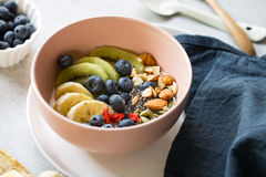 Varieties of fruits and nuts on Greek yogurt Royalty Free Stock Image