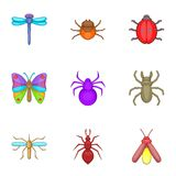 Varieties of insects icons set, cartoon style Stock Image
