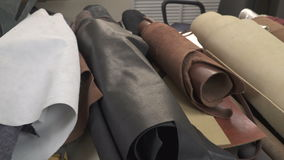 Varieties of natural leather on the table stock video