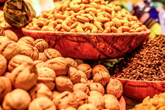 Varieties of nuts: walnuts,hazelnuts and cashew Stock Photo