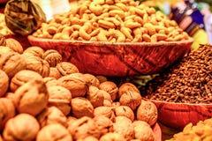 Varieties of nuts: walnuts,hazelnuts and cashew Stock Photo