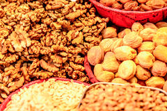 Varieties of nuts: walnuts,hazelnuts and cashew Stock Photography