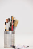 Varieties of paint brushes in metallic jar and tube color Royalty Free Stock Photography