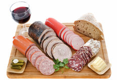 Varieties of sausages Royalty Free Stock Photography