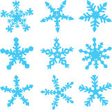 Varieties of Snowflakes. Varieties of shapes of snowflakes for Christmas decoration vector illustration