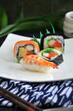 Varieties sushi serve on white dish Royalty Free Stock Photo