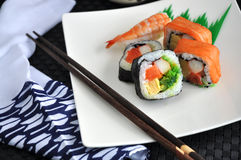 Varieties sushi set Royalty Free Stock Image