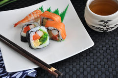 Varieties Sushi Set With Tea Stock Images