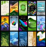 Variety of 15 vertical business cards. On different topics royalty free illustration
