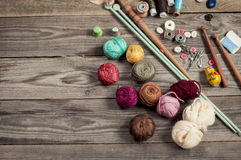 A variety of accessories for knitting royalty free stock photography