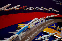 Variety of aircraft airline models. Variety of aircraft airline show models in Singapore Air Show 2010 Royalty Free Stock Image