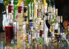 Variety of  alcohol bottles Stock Photo