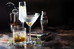 Variety of alcoholic cocktails. On dark background royalty free stock images