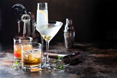 Variety of alcoholic cocktails. On dark background royalty free stock image