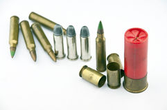 Variety of ammunition with white background Royalty Free Stock Photography