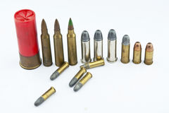 Variety of ammunition with white background Royalty Free Stock Photo