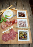 Variety of antipasti. Various cold meal used in mediterranean countries Royalty Free Stock Image