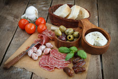 Variety of antipasti. Various cold meal used in mediterranean countries Royalty Free Stock Images