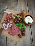 Variety of antipasti. Various cold meal used in mediterranean countries Stock Image