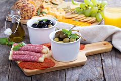 Variety of appetizers on dinner table Stock Photo