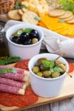 Variety of appetizers on dinner table Stock Photos