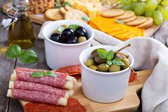 Variety of appetizers on dinner table Stock Images