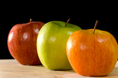 Variety apples on black Stock Photos
