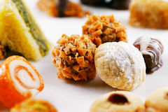 A variety of Arabic sweets on a white background Royalty Free Stock Image
