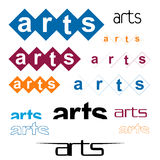 Variety of Arts. An illustrated background with the word 'arts' in different designs and fonts, isolated on a white background Royalty Free Stock Photography