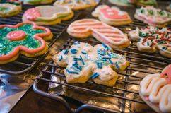Variety of Assorted Designed Cookies Stock Photos