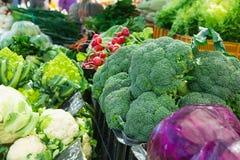 Variety Assortment of Fresh Ripe Organic Vegetables at Farmers Market. Broccoli Cabbage Radish Lettuce Herbs Scallions Zucchini. Summer Fall Harvest. Vitamins Stock Images
