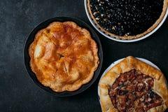 Variety of autumn pies Stock Photos
